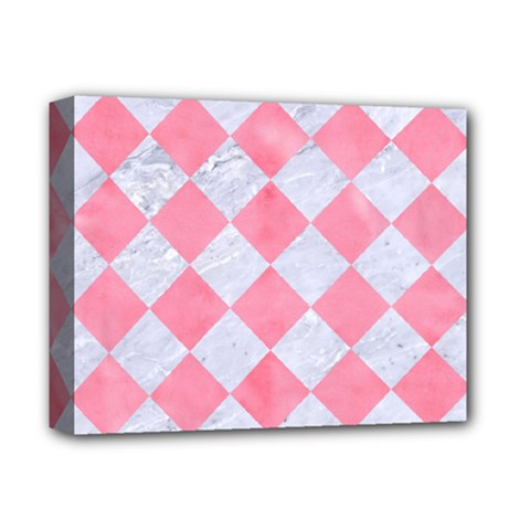 Square2 White Marble & Pink Watercolor Deluxe Canvas 14  X 11  by trendistuff