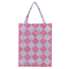 Square2 White Marble & Pink Watercolor Classic Tote Bag by trendistuff