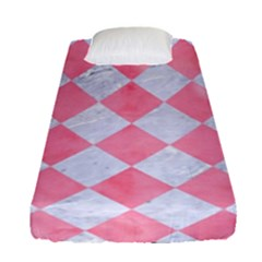 Square2 White Marble & Pink Watercolor Fitted Sheet (single Size)
