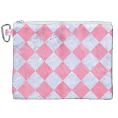 Square2 White Marble & Pink Watercolor Canvas Cosmetic Bag (xxl) by trendistuff