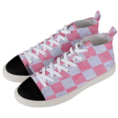 Square1 White Marble & Pink Watercolor Men s Mid Top Canvas Sneakers by trendistuff