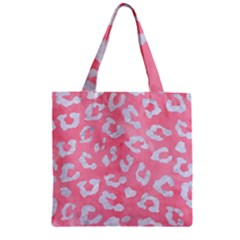 Skin5 White Marble & Pink Watercolor (r) Zipper Grocery Tote Bag by trendistuff