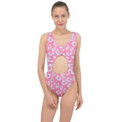 Skin5 White Marble & Pink Watercolor (r) Center Cut Out Swimsuit
