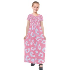 Skin5 White Marble & Pink Watercolor (r) Kids  Short Sleeve Maxi Dress