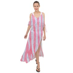 Skin4 White Marble & Pink Watercolor (r) Maxi Chiffon Cover Up Dress by trendistuff
