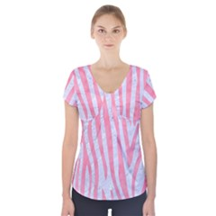 Skin4 White Marble & Pink Watercolor Short Sleeve Front Detail Top
