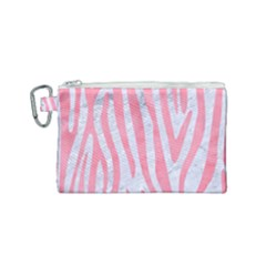 Skin4 White Marble & Pink Watercolor Canvas Cosmetic Bag (small) by trendistuff