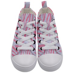 Skin3 White Marble & Pink Watercolor (r) Kid s Mid Top Canvas Sneakers