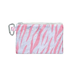 Skin3 White Marble & Pink Watercolor (r) Canvas Cosmetic Bag (small) by trendistuff