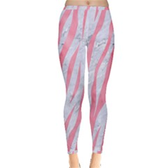 Skin3 White Marble & Pink Watercolor (r) Inside Out Leggings