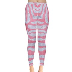 Skin2 White Marble & Pink Watercolor (r) Inside Out Leggings by trendistuff