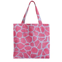 Skin1 White Marble & Pink Watercolor (r) Zipper Grocery Tote Bag by trendistuff