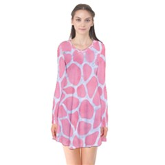 Skin1 White Marble & Pink Watercolor (r) Long Sleeve V Neck Flare Dress