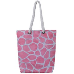 Skin1 White Marble & Pink Watercolor (r) Full Print Rope Handle Tote (small) by trendistuff