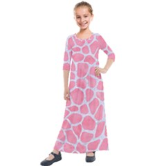 Skin1 White Marble & Pink Watercolor (r) Kids  Quarter Sleeve Maxi Dress by trendistuff