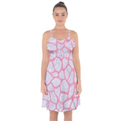 Skin1 White Marble & Pink Watercolor Ruffle Detail Chiffon Dress