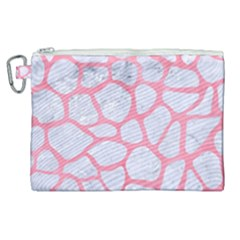 Skin1 White Marble & Pink Watercolor Canvas Cosmetic Bag (xl)