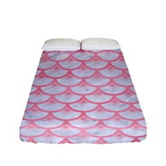 Scales3 White Marble & Pink Watercolor (r) Fitted Sheet (full/ Double Size) by trendistuff