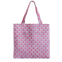 Scales3 White Marble & Pink Watercolor (r) Zipper Grocery Tote Bag by trendistuff