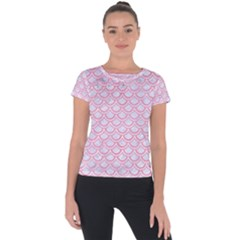 Scales2 White Marble & Pink Watercolor (r) Short Sleeve Sports Top