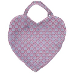 Scales2 White Marble & Pink Watercolor (r) Giant Heart Shaped Tote by trendistuff