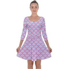 Scales1 White Marble & Pink Watercolor (r) Quarter Sleeve Skater Dress