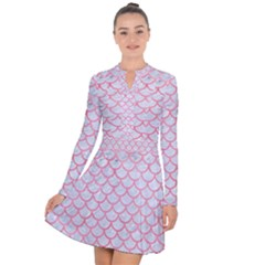 Scales1 White Marble & Pink Watercolor (r) Long Sleeve Panel Dress
