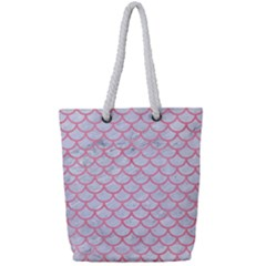 Scales1 White Marble & Pink Watercolor (r) Full Print Rope Handle Tote (small) by trendistuff