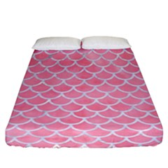 Scales1 White Marble & Pink Watercolor Fitted Sheet (california King Size) by trendistuff
