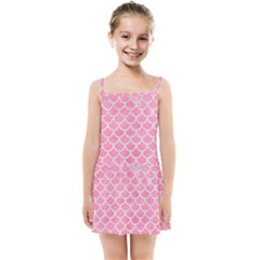 Scales1 White Marble & Pink Watercolor Kids Summer Sun Dress
