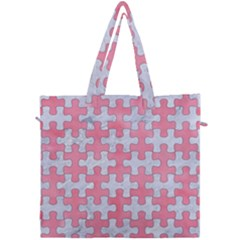Puzzle1 White Marble & Pink Watercolor Canvas Travel Bag by trendistuff