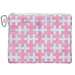 Puzzle1 White Marble & Pink Watercolor Canvas Cosmetic Bag (xxl) by trendistuff