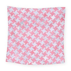 Houndstooth2 White Marble & Pink Watercolor Square Tapestry (large) by trendistuff