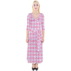 Houndstooth1 White Marble & Pink Watercolor Quarter Sleeve Wrap Maxi Dress