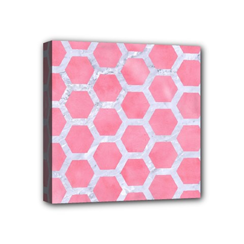 HEXAGON2 WHITE MARBLE & PINK WATERCOLOR Mini Canvas 4  x 4