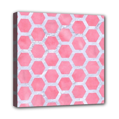 HEXAGON2 WHITE MARBLE & PINK WATERCOLOR Mini Canvas 8  x 8
