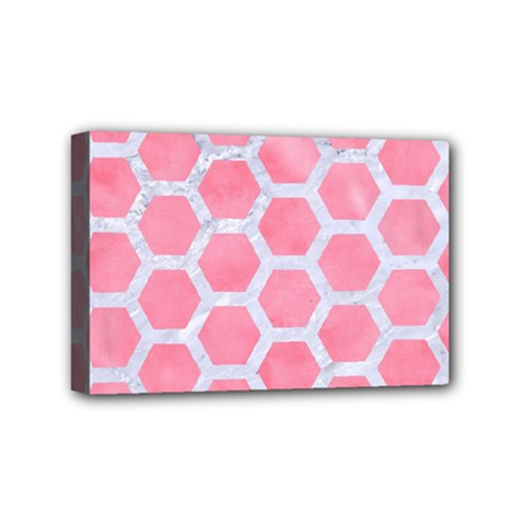HEXAGON2 WHITE MARBLE & PINK WATERCOLOR Mini Canvas 6  x 4