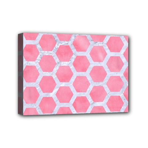 HEXAGON2 WHITE MARBLE & PINK WATERCOLOR Mini Canvas 7  x 5
