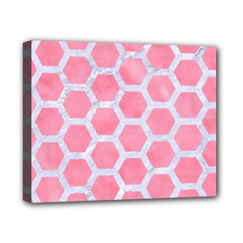 HEXAGON2 WHITE MARBLE & PINK WATERCOLOR Canvas 10  x 8