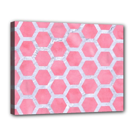 HEXAGON2 WHITE MARBLE & PINK WATERCOLOR Canvas 14  x 11