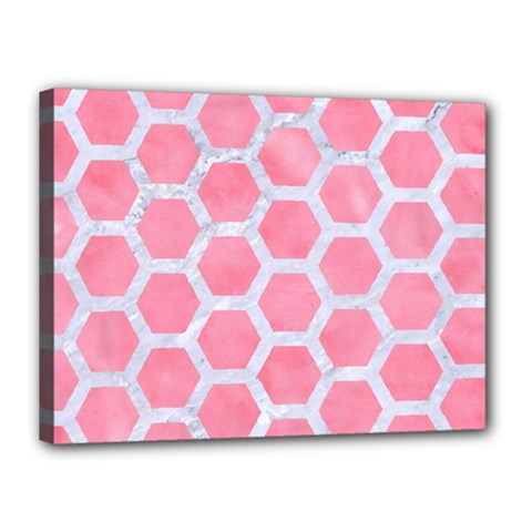 HEXAGON2 WHITE MARBLE & PINK WATERCOLOR Canvas 16  x 12