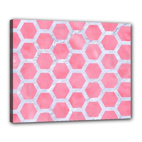 HEXAGON2 WHITE MARBLE & PINK WATERCOLOR Canvas 20  x 16