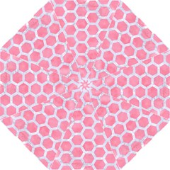 HEXAGON2 WHITE MARBLE & PINK WATERCOLOR Folding Umbrellas
