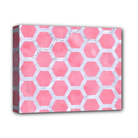 HEXAGON2 WHITE MARBLE & PINK WATERCOLOR Deluxe Canvas 14  x 11
