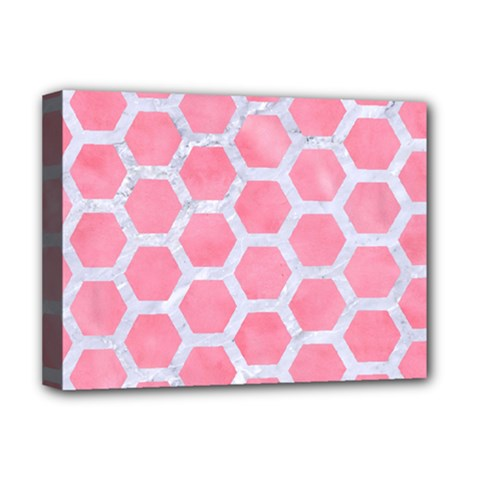HEXAGON2 WHITE MARBLE & PINK WATERCOLOR Deluxe Canvas 16  x 12