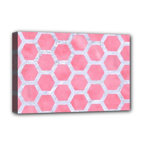 HEXAGON2 WHITE MARBLE & PINK WATERCOLOR Deluxe Canvas 18  x 12