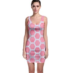 HEXAGON2 WHITE MARBLE & PINK WATERCOLOR Bodycon Dress