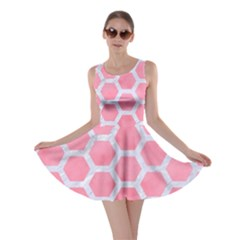 HEXAGON2 WHITE MARBLE & PINK WATERCOLOR Skater Dress