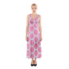 HEXAGON2 WHITE MARBLE & PINK WATERCOLOR Sleeveless Maxi Dress