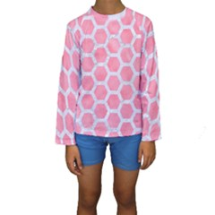 HEXAGON2 WHITE MARBLE & PINK WATERCOLOR Kids  Long Sleeve Swimwear